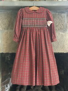 NWT Strasburg Red Plaid Smocked Collared Classic Modest Long Sleeve Dress 4 4Y