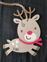 Handmade christmas gift tags reindeer set of 5