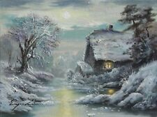 LOVELY ORIGINAL WINTER SNOWY CABIN FROZEN LAKE SNOW LANDSCAPE OIL PAINTING ART