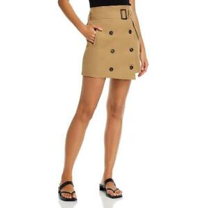Fore Womens Tan High Waisted Button-Front Wrap Mini Skirt M BHFO 4809