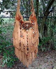 Handmade Tan Leather Fringe Bag Feathers & Tigers Eye Gypsy Boho by ShellB
