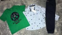 Gymboree boys size 3T skull anchors away tee button up navy joggers 3pc