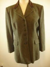 Womens sz 12 Ralph Lauren Green Brown Tweed Velvet Collar Hacking Riding Jacket
