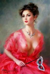 "YA1191 100% Hand-painted Portrait oil painting Gird in red Unframed 24""x36"""