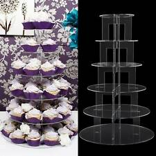 6 Tier Clear Cup Cake Stand Acrylic Cupcake Display Round Wedding Birthday Party