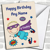 Superhero Blue Boy Any Age Children's Personalized Childrens Birthday Card