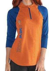 G-III Sports NBA New York Knicks Womens Zip It Up 3/4 Sleeve Tee Small Orange