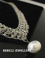Chains Braided with Pearl Pendant&Neckla/White Gold Plated/RGN461