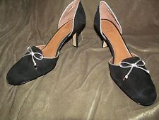 soft BLACK suede leather high heel pumps silver trim bow circa by Joan & David 8