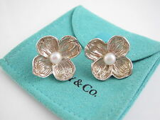Tiffany & Co RARE VINTAGE Silver Dogwood Nature Pearl Flower Earrings