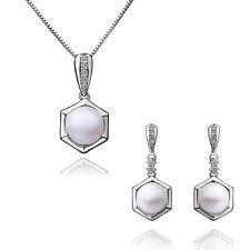 Elegant Silver & White Pearl Drop Jewellery Set Stud Earrings & Necklace S377