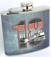 Laura Darrington 18th Birthday 5oz Hipflask Denim Collection Gift Boxed