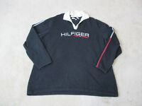 VINTAGE Tommy Hilfiger Long Sleeve Shirt Adult 2XL XXL Black White Spell Out 90s