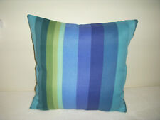 Blue Stripe Pillow Cover Handmade Indoor Outdoor Turquoise Navy Green Patio Deck