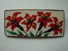 rechteckige Brosche, emailliert, Blumen, 60iger Jahre Lagerware, 5,5x2,3cm (3)