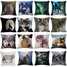 Animal Wolf Pattern Linen Cotton Pillowcase Sofa Cushion Cover Square Home Decor