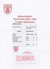 BOBBY MITCHELL THIRD LANARK 1950-51 VERY RARE ORIGINAL HAND SIGNED CUTTING/CARD