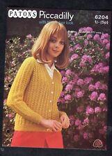 c1960s Knitting Pattern: Patons 6204: Crunchy Look Ladies Cardigan
