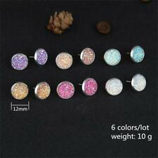 6Pairs/Set Crystal Round Stud Earrings Colorful Sparkly Rhinestone Stud Jewelry-