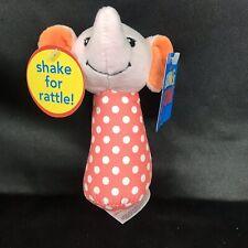 Sassy Grin & Grow Pink White Polka dot ELEPHANT Plush baby RATTLE Stuff Toy New