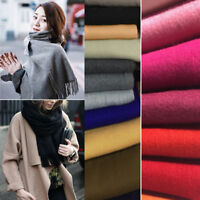 New Fashion Womens Men Cashmere Scarf Winter Warm Solid Long Pashmina Shawl Wrap