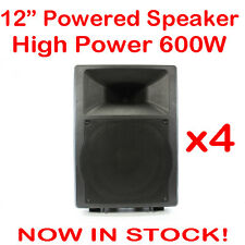 4x MaxAV 12 Inch Powered Audio Speaker PA Cabinet Box Active Stage Monitor 12""
