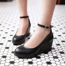 Women's Retro Ankle Strap Wedge Heels Platform Round Toe Mary Jane Casual Pumps