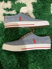 NEW Polo Ralph Lauren VAUGHN MEN`S CANVAS SHOES  SIZE 7.5 D - Light Blue