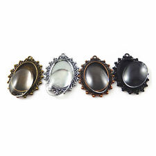 With Glass Covers Charms Pendants 5 Sets Mixed Colors Zinc Alloy Oval Cameo Base