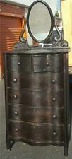 Antique High Boy Curved Front Dresser with Detachable Swivel Mirror. BEAUTIFUL!