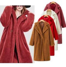 Celebrity Women Feel Oversized Wool Fur Coat Long Thick Warm Overcoat Winter Hot