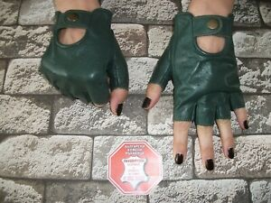 WOMEN'S GREEN LEATHER DRIVING GLOVES SIZE 7, 7.5, 8,8.5