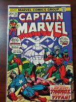 Captain Marvel #28 (Marvel 1973) Thanos App~Starlin~Avengers~Drax~Bronze Age~Key