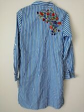 QED London Blue And White Striped Shirt Dress With Floral Embroidery UK Size...