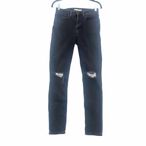 Levi's 721 Jeans High Rise Skinny Denim Stretch Black Distressed Women's Size 27