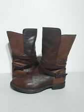 Clarks Brown Leather Boots Size 4 UK Slouchy Pull On