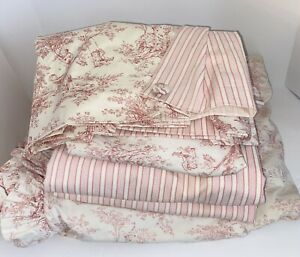 Custom 5 Pc. P. Kaufmann Pink French Country Toile Bed And Window Set