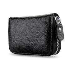 New Black Genuine Leather Accordion Wallet ID Credit Card Case Holder