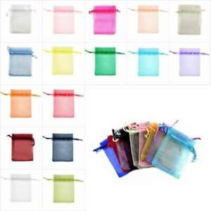 50/100/200/500 Small Organza Bag Wedding Party Gift Jewelry Pouch 7x9cm/9x12cm