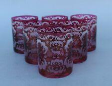 6 Weingläser - rotes Glas mit Jagd Motiv - Handarbeit - Hirsch Rehbock Ente