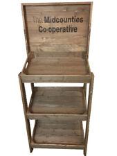 Rustic wooden FSDU, Free standing display unit, branded retail display stock