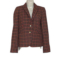 J Crew Women's Size 6 Plaid Lined Wool Blend Jacket Blazer Pockets Gold Buttons