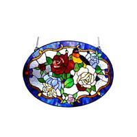 "Stained Glass Chloe Lighting Roses & Bird Window Panel CH1P513RF24-GPN 24 X 18"""