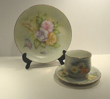 Hand Painted Cup & Saucer & Plate Pansy Flower Motif Norma Wagner