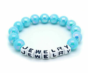 Personalized Stretchy Bracelet Beaded Custom Name Letters Blue Beads Elastic