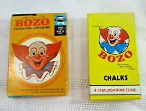 Vintage Bozo Edu-Cards Card Game Complete Bozo Chalks 1987 Lot of 2