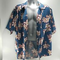 Banana Republic Mens Hawaiian Shirt Blue Short Sleeve Button Up Pocket Size L