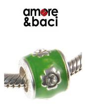 AMORE & BACI 925 Argento, Verde Smalto & Cristallo Swarovski Fiore Charm Bead