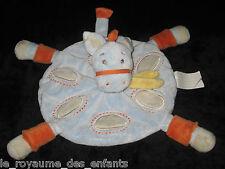 Doudou plat rond Cheval Poney Ane bleu gris et orange Kimbaloo La Halle