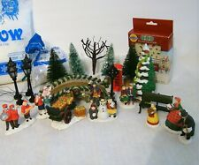 LOT OF MISC DEPT. 56-LEMAX & UNMARKED CHRISTMAS VILLAGE FIGURINES & ACCESSORIES